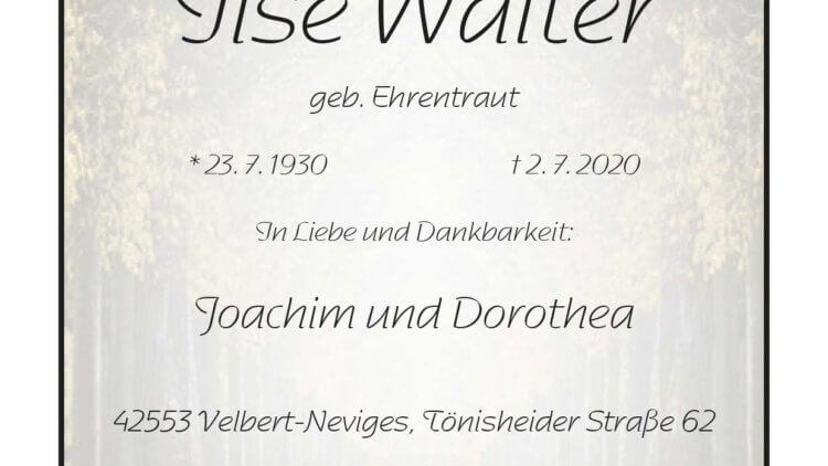 Ilse Walter † 2. 7. 2020