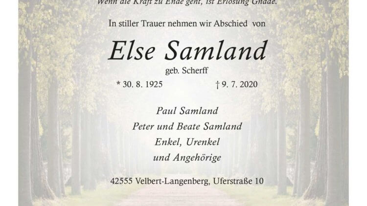 Else Samland † 9. 7. 2020