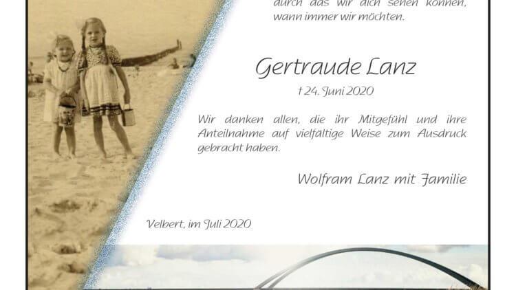 Gertraude Lanz -Danksagung-