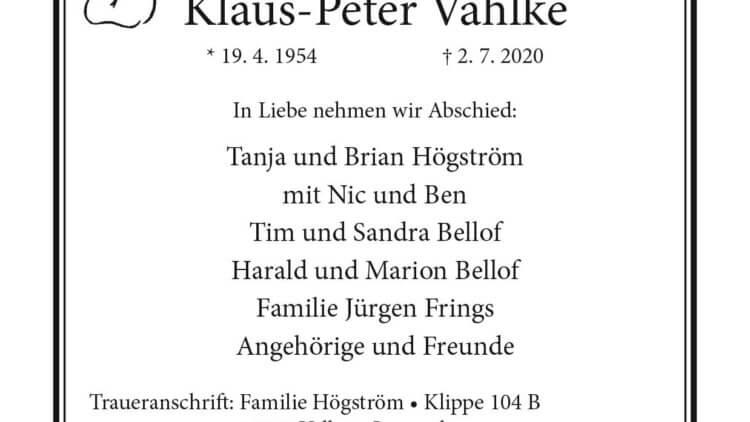 Klaus-Peter Vahlke † 2. 7. 2020