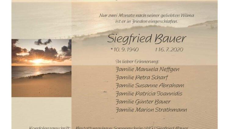Siegfried Bauer † 16. 7. 2020