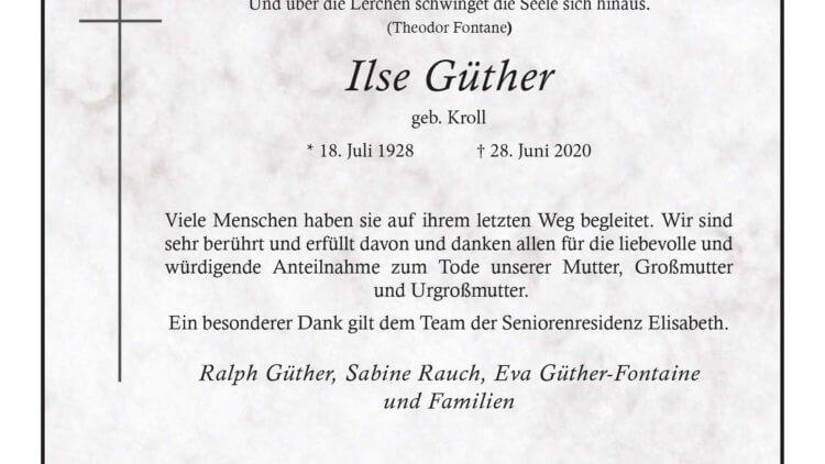 Ilse Güther † 28. 6. 2020