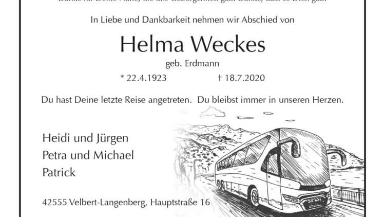 Helma Weckes † 18. 7. 2020