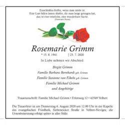 Rosemarie Grimm † 23. 7. 2020