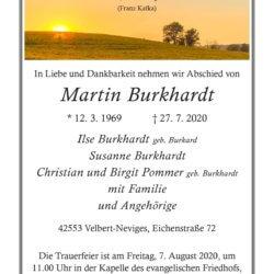 Martin Burkhardt † 27. 7. 2020