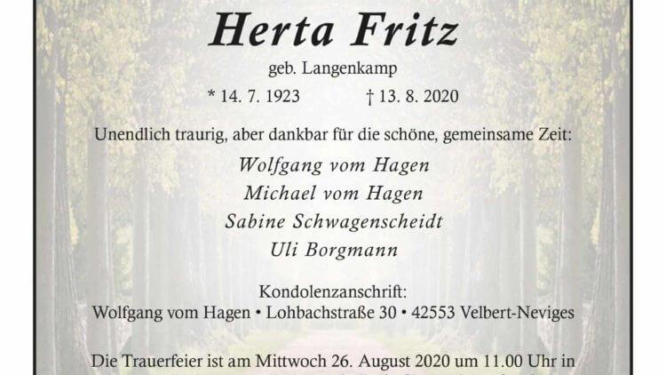Herta Fritz † 13. 8. 2020