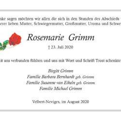 Rosemarie Grimm -Danksagung-
