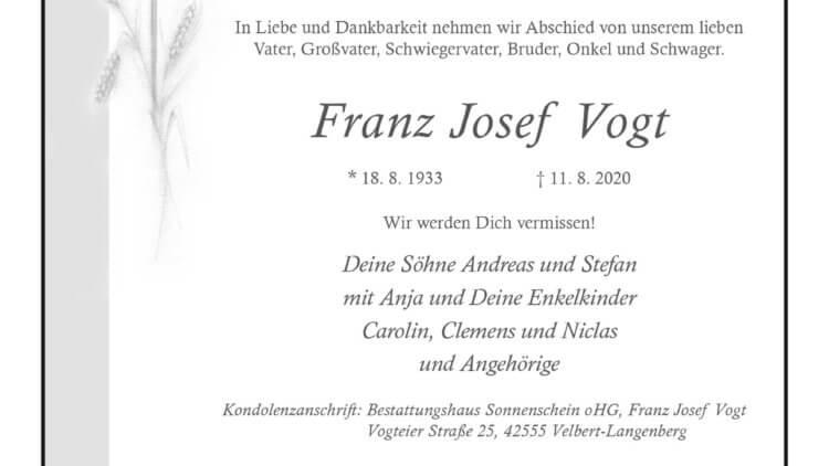 Franz Josef Vogt † 11. 8. 2020