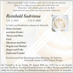 Reinhold Sadrinna † 12. 8. 2020