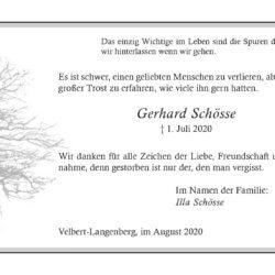 Gerhard Schösse -Danksagung-
