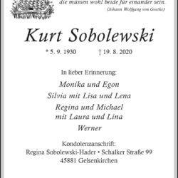 Kurt Sobolewski † 19. 8. 2020