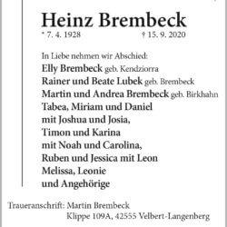 Heinz Brembeck † 15. 9. 2020