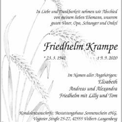 Friedhelm Krampe † 9. 9. 2020