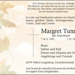 Margret Tunnat † 23. 10. 2020