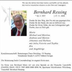 Bernhard Ressing † 27. 11. 2020