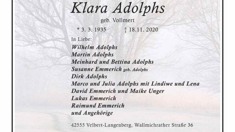 Klara Adolphs † 18. 11. 2020