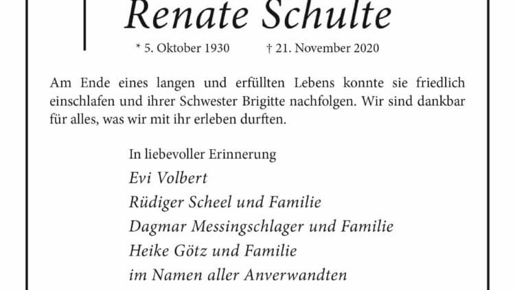 Renate Schulte † 21. 11. 2020
