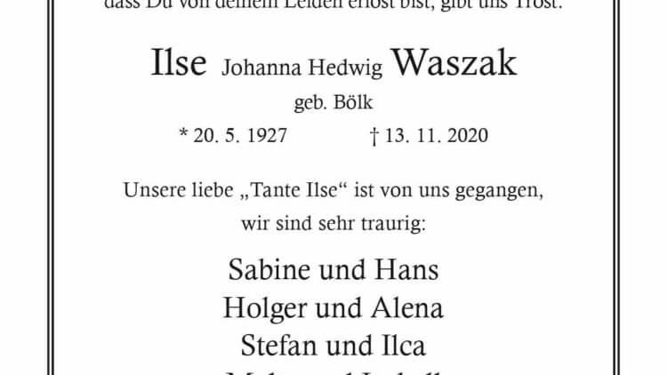Ilse Waszak † 13. 11. 2020