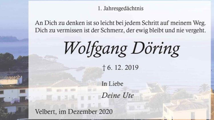 Wolfgang Döring -1. Jahresgedächtnis-
