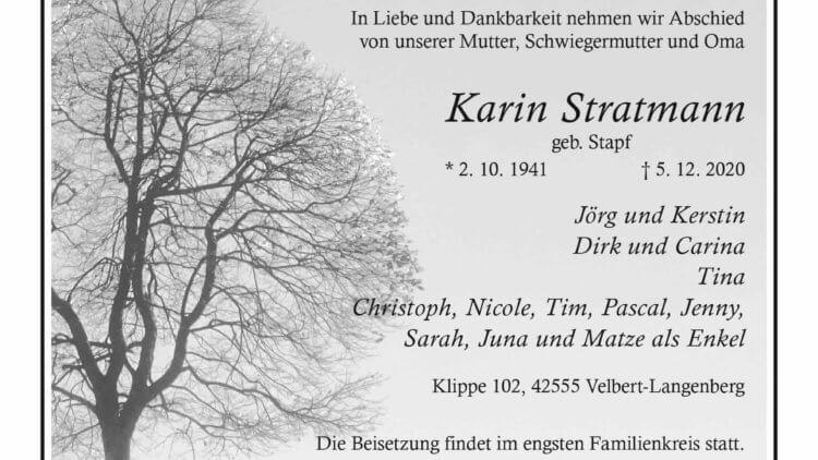 Karin Stratmann † 5. 12. 2020