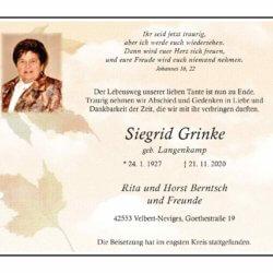 Siegrid Grinke † 21. 11. 2020
