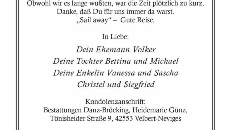 Heidemarie Günz † 7. 12. 2020