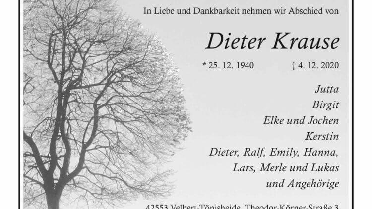 Dieter Krause † 4. 12. 2020
