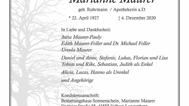 Marianne Maurer † 4. 12. 2020