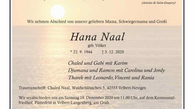 Hana Naal † 3. 12. 2020
