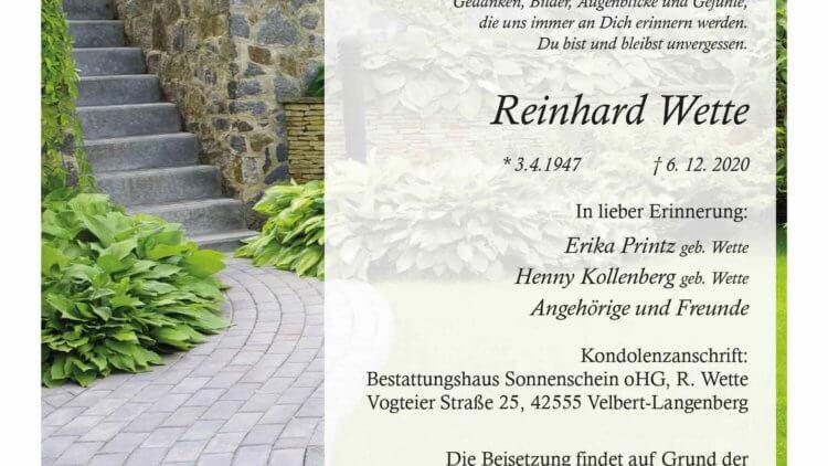 Reinhard Wette † 6. 12. 2020