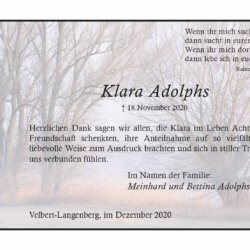 Klara Adolphs -Danksagung-