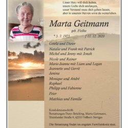 Marta Geitmann † 11. 12. 2020
