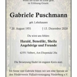 Gabriele Puschmann † 15. 12. 2020