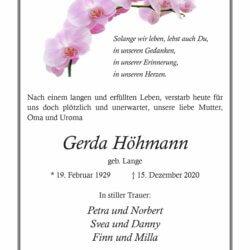 Gerda Höhmann † 15. 12. 2020