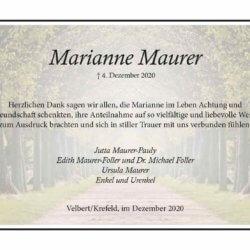 Marianne Maurer -Danksagung-