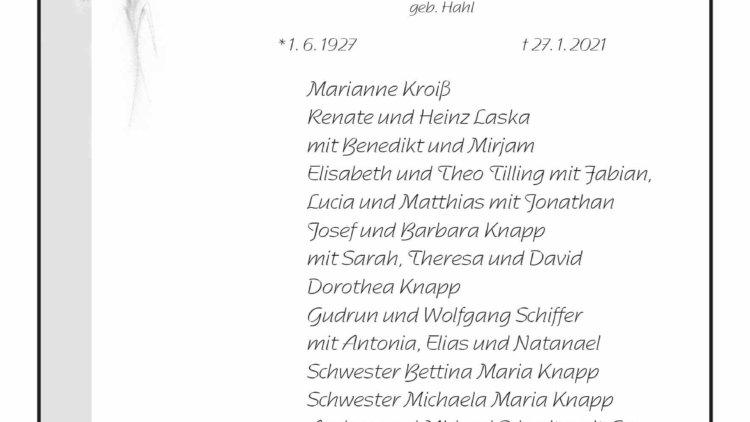 Irmgard Rita † 27. 1. 2021