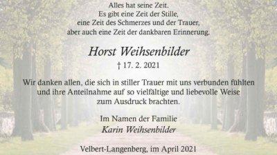 Horst Weihsenbilder -Danksagung-