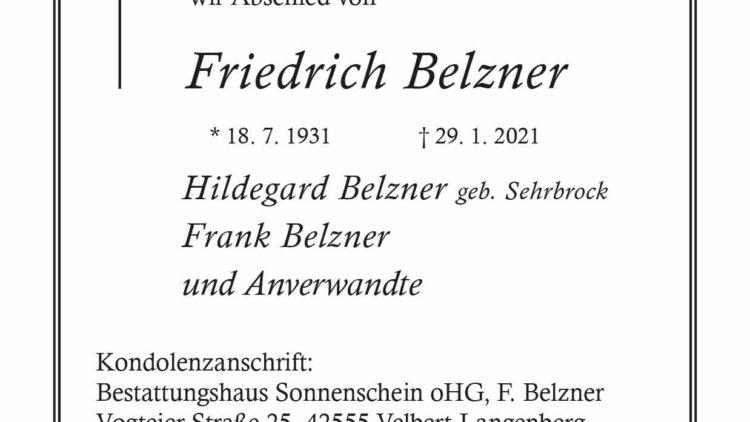 Friedrich Belzner † 29. 1. 2021