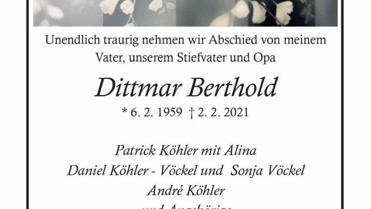 Dittmar Berthold † 2. 2. 2021