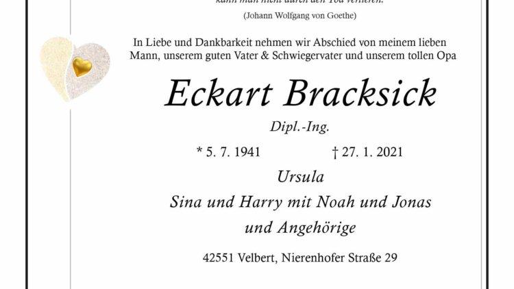 Eckart Bracksick † 27. 1. 2021