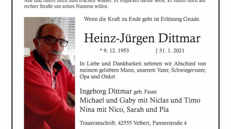 Heinz-Jürgen Dittmar †31. 1. 2021