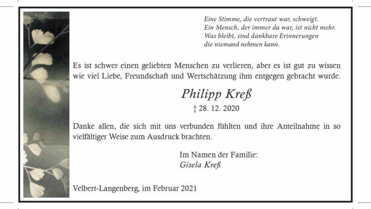 Philipp Kreß -Danksagung-