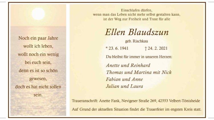Ellen Blaudszun † 24. 2. 2021