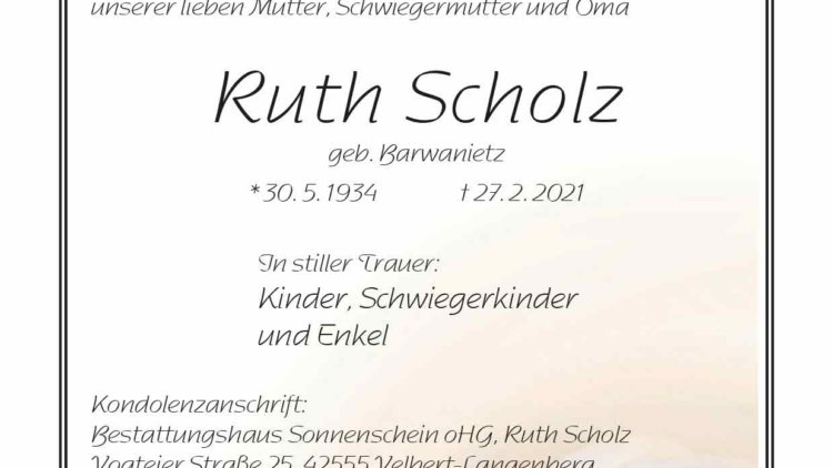 Ruth Scholz † 27. 2. 2021