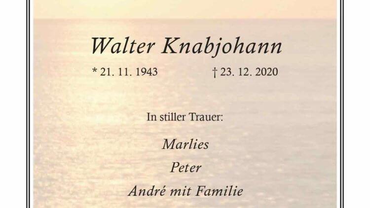 Walter Knabjohann †23. 12. 2020
