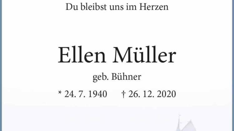 Ellen Müller † 26. 12. 2020