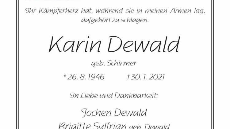 Karin Dewald † 30. 1. 2021
