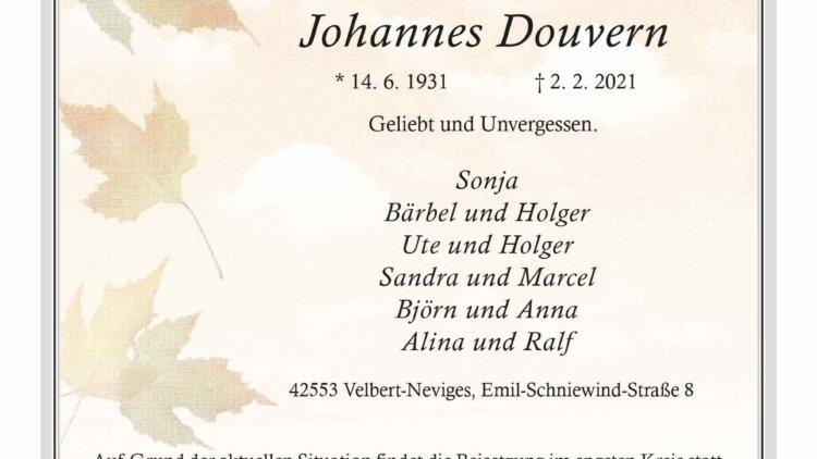 Johannes Douvern † 2. 2. 2021