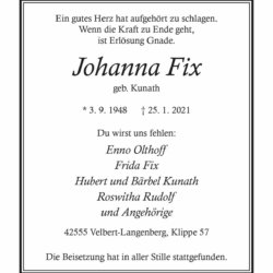 Johanna Fix † 25. 1. 2021