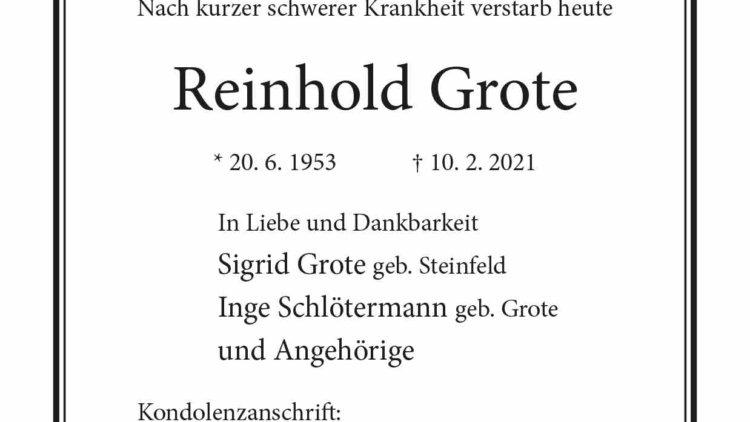 Reinhold Grote † 10. 2. 2021